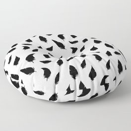 Feather pattern black Floor Pillow