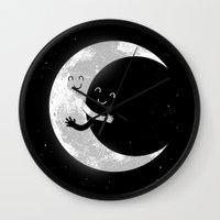hug Wall Clocks featuring Moon Hug by carbine