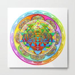 Inner Strength Psychedelic Tiger Sri Yantra Mandala Metal Print