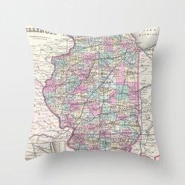Vintage Map of Illinois (1855) Throw Pillow