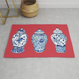 GINGER JAR TRIO ON RED Rug