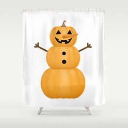Pumpkin Snowman Shower Curtain