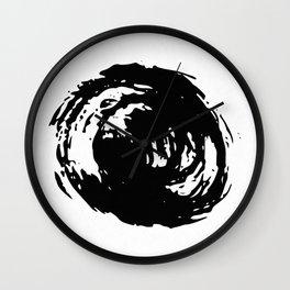 Whorl Black on White Wall Clock