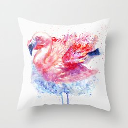 Flamingo on the Water Throw Pillow