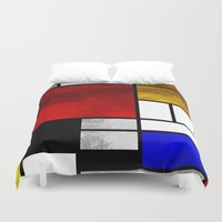 mondrian Duvet Covers featuring Luxury Mondrian by Dizzy Moments