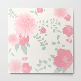 Dahlias and spring flowers in light pastel pink Metal Print