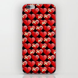 broken heart pattern black iPhone Skin
