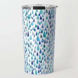 Watercolor Raindrops Travel Mug