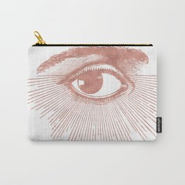 I see you. Rose Gold Pink Quartz on White Carry-All Pouch