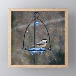 Chickadee in Snow Framed Mini Art Print