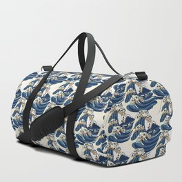 The Great Wave of Pug Pattern Duffle Bag
