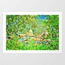 View among the trees of the village with church Art Print