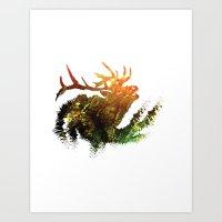 elk Art Prints featuring Elk by Justin Kedl