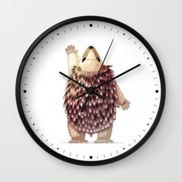 Cute hedgehog. Vector graphic character Wall Clock