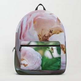 Busy bee in a rose garden Backpack