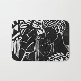 Couple Embracing - Vintage Block Print Bath Mat