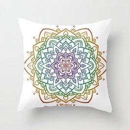 Floral Mandala A - Rainbow Line Throw Pillow