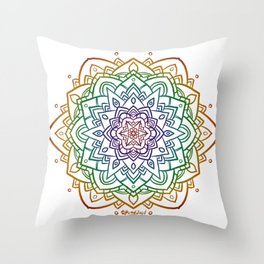 Floral Mandala A - Rainbow Line Throw Pillow