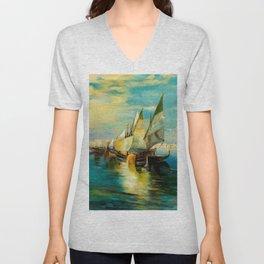 Scene with Sailboats landscape by Robert Rafailovich Falk Unisex V-Neck