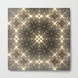 Victorian Art Deco Medieval Pattern light brown SB23 Metal Print