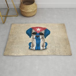 Cute Puppy Dog with flag of Cuba Rug