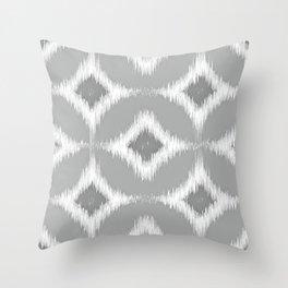Elegant White Gray Retro Circles Squares Ikat Pattern Throw Pillow