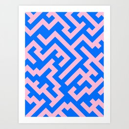 Cotton Candy Pink and Brandeis Blue Diagonal Labyrinth Art Print