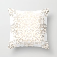 Mandala White Gold Shimmer Throw Pillow