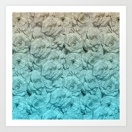 Turquoise Blue Ombre Book Flowers Art Print