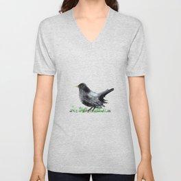 Watercolor Cute Blackbird Painting by ili Unisex V-Neck