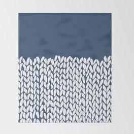Half Knit Navy Throw Blanket