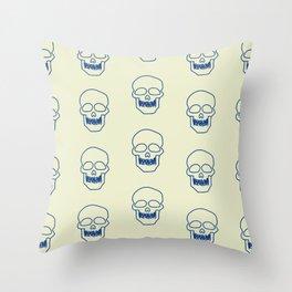 Blue skulls pattern Throw Pillow