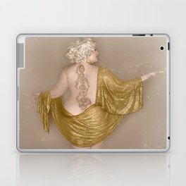 """""""Golden Goddess"""" - The Playful Pinup - Majestic Curvy Pin-up Beauty in Gold by Maxwell H. Johnson Laptop & iPad Skin"""