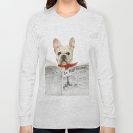 French bulldog with newspaper, bonjour Long Sleeve T-shirt