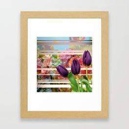 Flower Garden & Purple Tulips Stripes Collage Framed Art Print