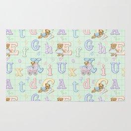 Teddy Bear Alphabet ABC's Green Rug