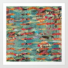 Goodbye Wave Abstract Art Collage Art Print