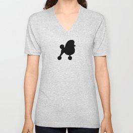 Black Fancy Toy Poodle Silhouette Unisex V-Neck