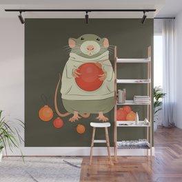 Mouse with a Christmas ball II Wall Mural