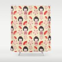 mini Shower Curtains featuring Mini Geisha by Vickn