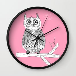 Pink Owl Gives A Hoot Wall Clock
