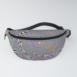 Trippy Whirlpool of Optical Illusions and Holographic Peacock Feathers Fanny Pack