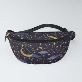 Celestial Stars and Moons in Gold and Dark Blue Fanny Pack