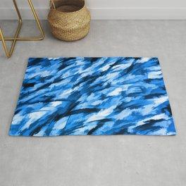 Blue on Blue Designer Camouflage pattern Rug