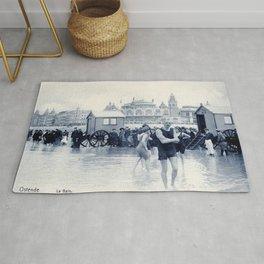 On the beach in 1900, history swimwear Rug