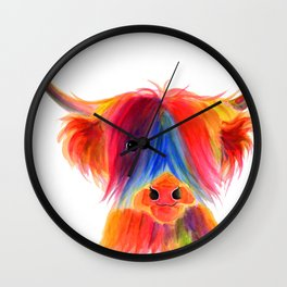 Scottish Highland Cow ' PANCAKE ' by Shirley MacArthur Wall Clock
