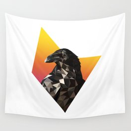 Low Poly Raven Wall Tapestry
