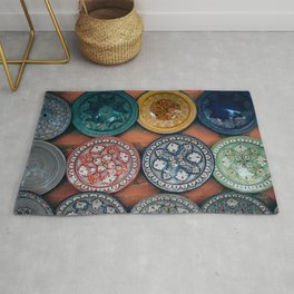 Arabic Moroccan Plates on Wall in Marrakech Rug