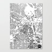 los angeles Canvas Prints featuring LOS ANGELES by Maps Factory
