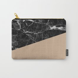 Black marble and hazelnut color Carry-All Pouch